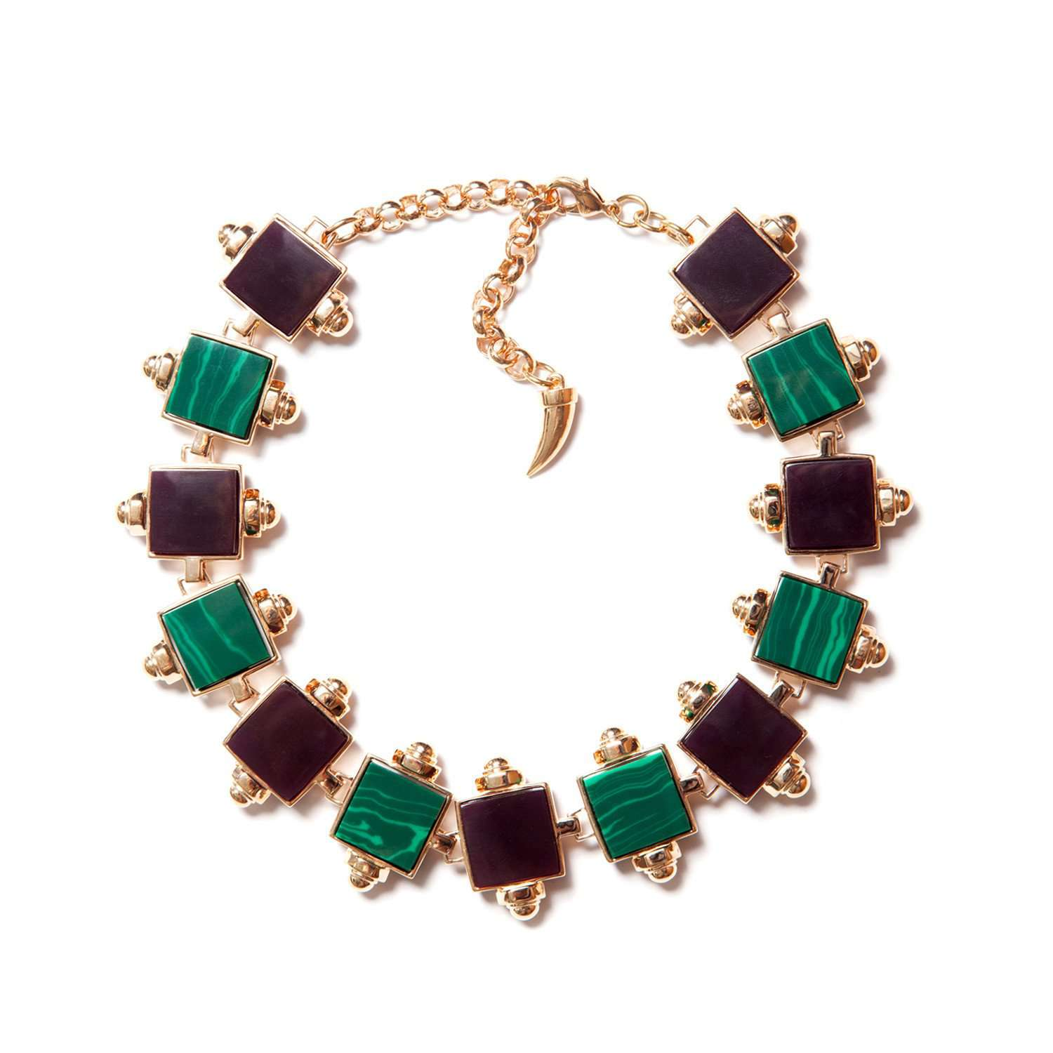 Yellow gold plated choker necklace with purple and malachite resin cube details.   This signature piece will allow you to make a bold statement this season. Its luxurious yet extravagant shape would be a welcome addition to your look. Clever and tasteful selection of colours will suit any outfit.