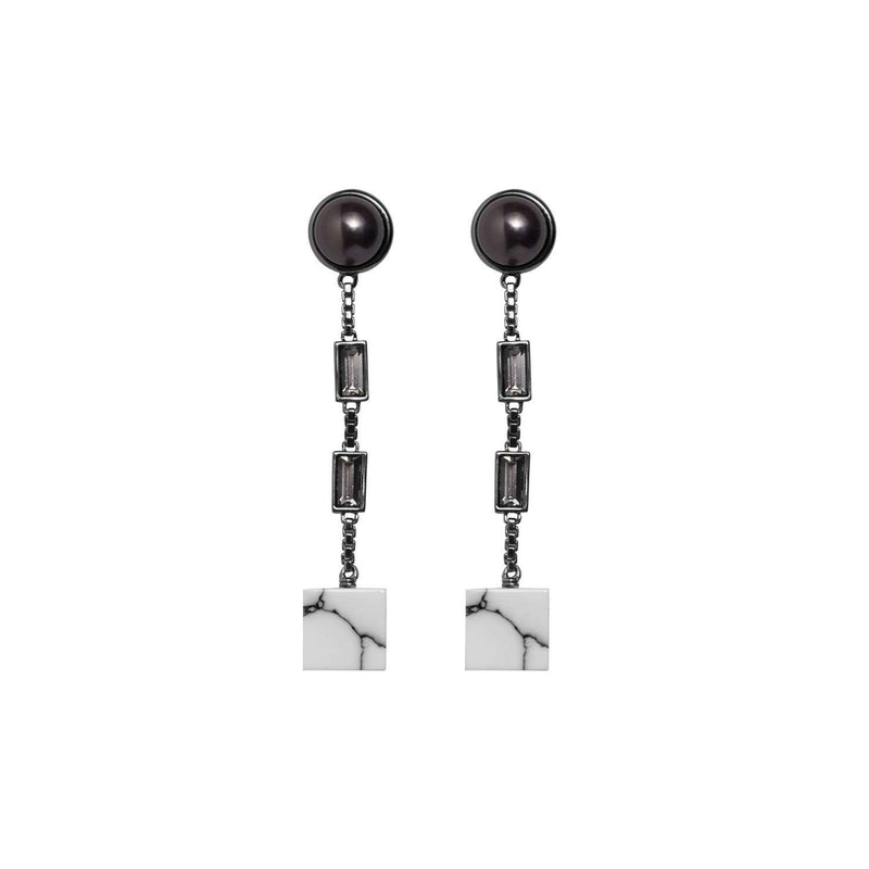 black and white robot earrings