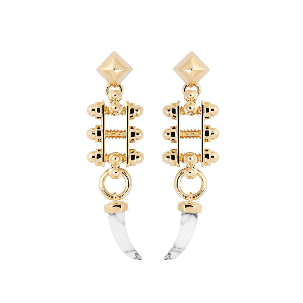 Yellow gold plated earrings with white marble resin fangs