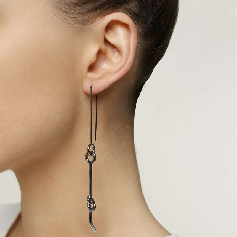 Buy online hematite plated metal earrings