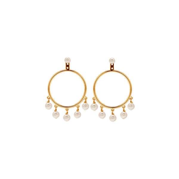 Hula Hoop Pearl Earrings
