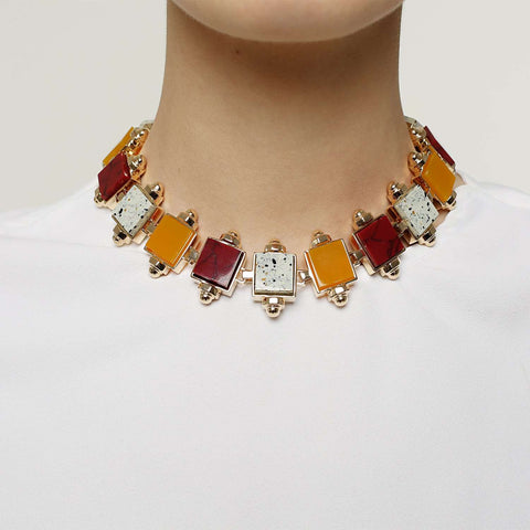 shop online gold plated necklace, egg, yellow agate, bloody jasper rezin