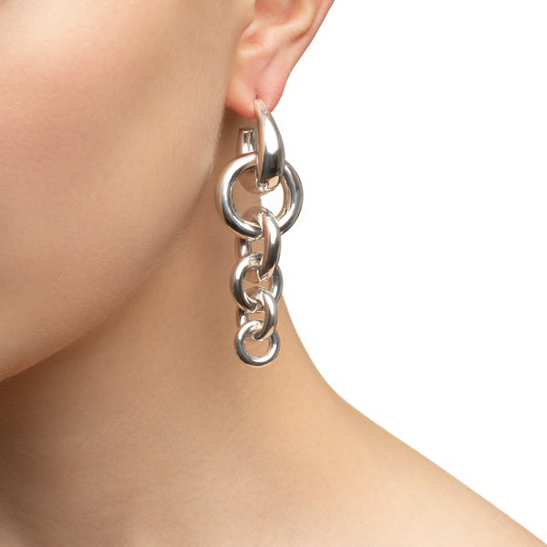 Triple Hoop Silver Earrings
