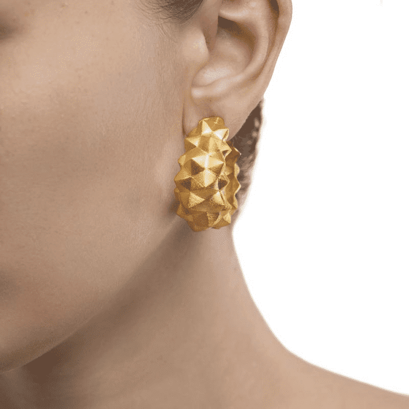Hand Crafted Edgy Gold Earrings