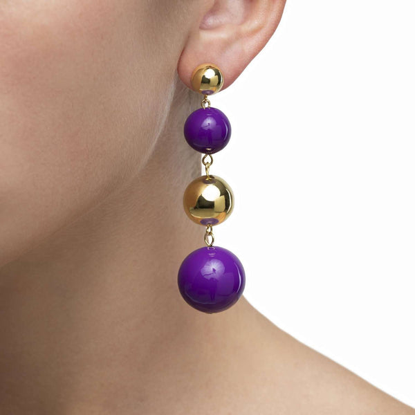 Galaxy purple enamel earrings