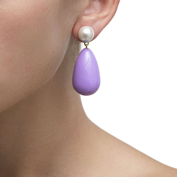 Lila purple enamel earrings