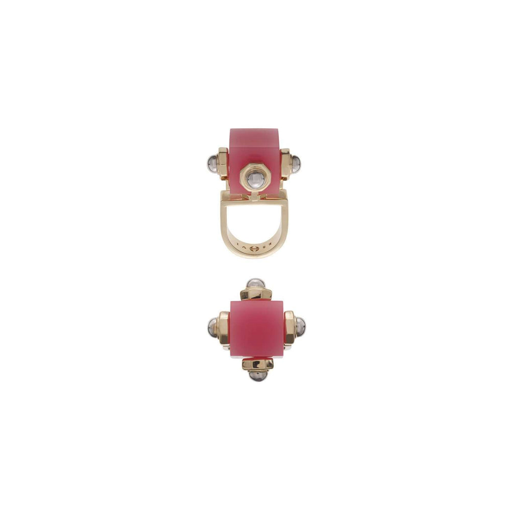 Edgy gold plated and pink ring by Eshvi
