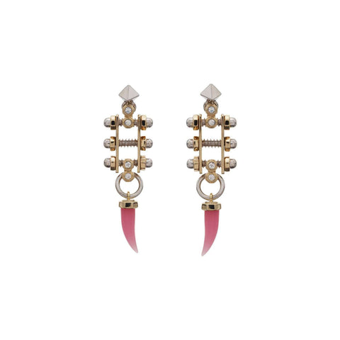 rhodium plated earrings with yellow gold plated details and pink quartz resin fangs.