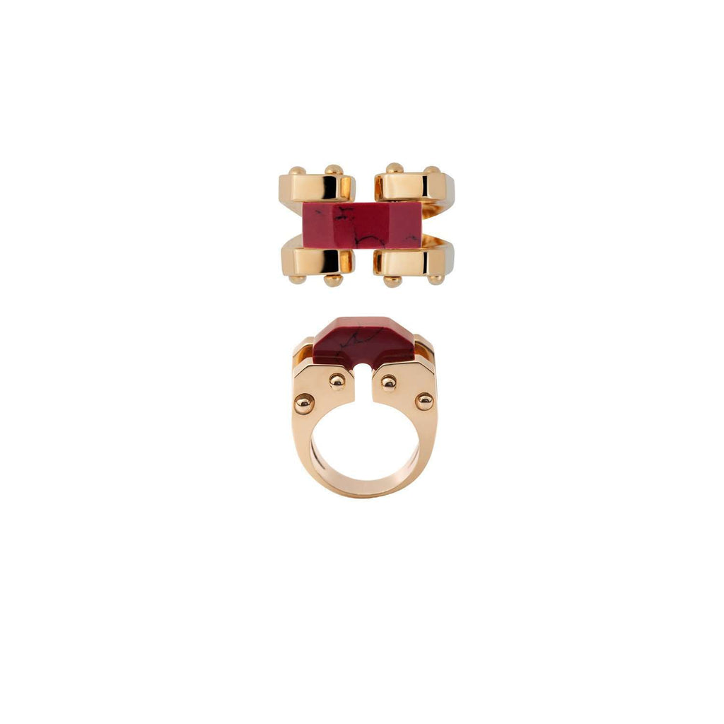 Trendy yellow gold plated ring with red resin