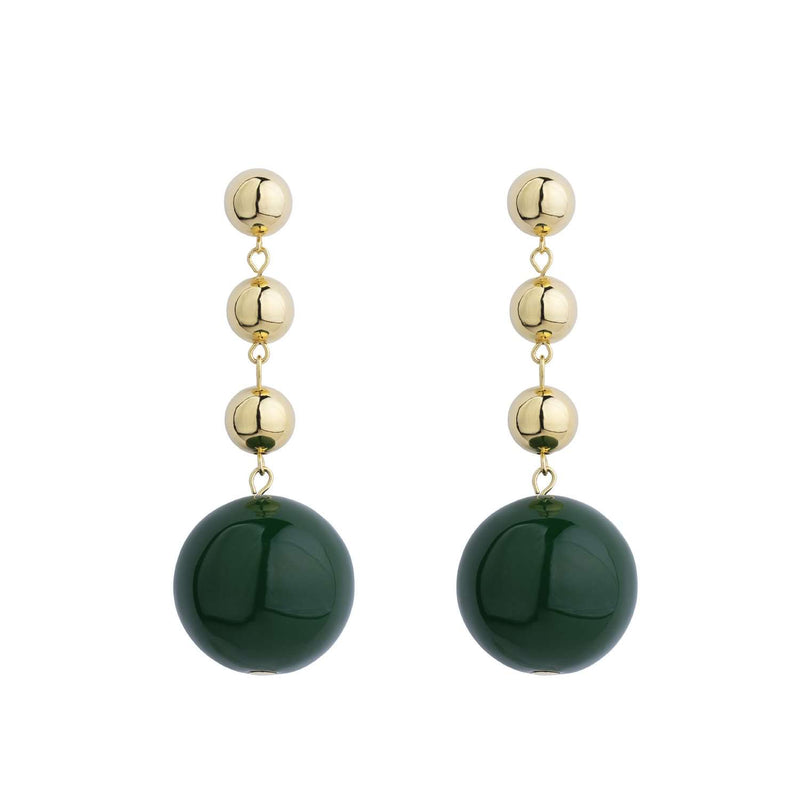 Galaxy green enamel ball earrings