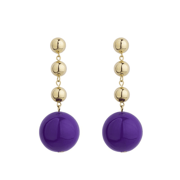 Galaxy purple enamel ball earrings