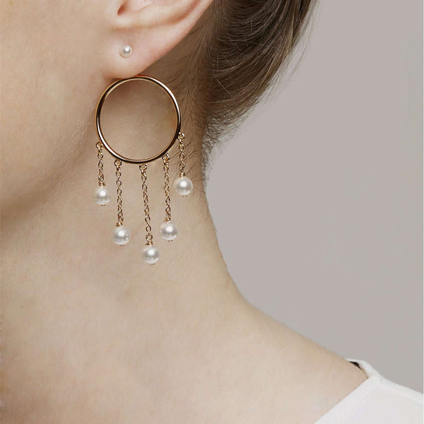 Shop online yellow gold plated metal hoop earrings with sw pearls.