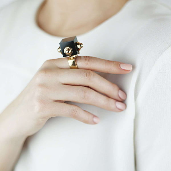 Geometric Onix Resin Ring