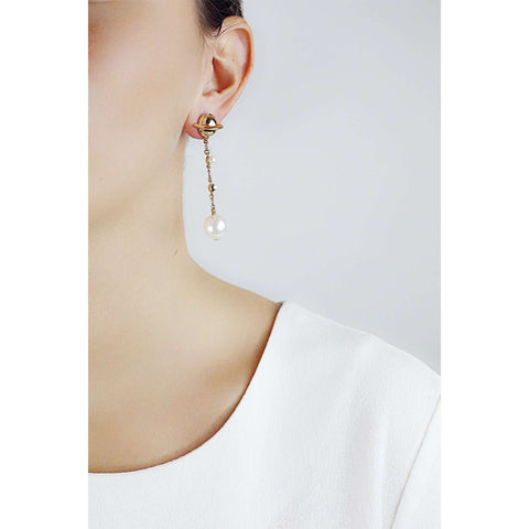 Find out yellow gold plating metal earrings with white SW pearl cabochons.