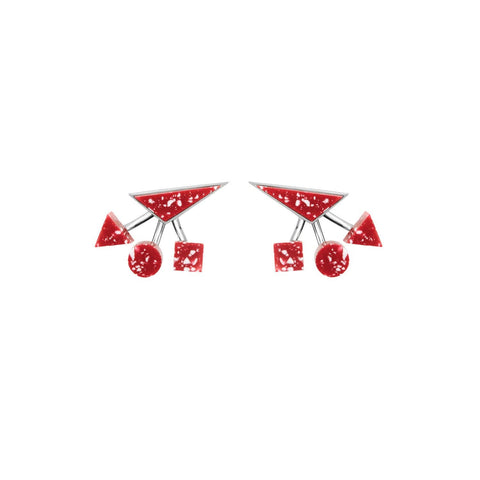 Red geometrical earrings