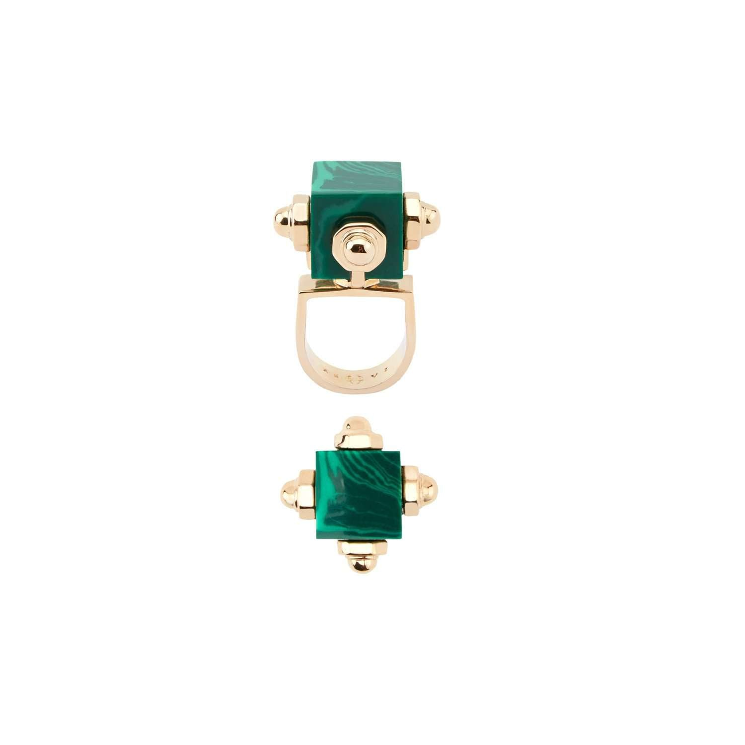 Geometric Malachite Resin Ring on Yellow Gold Plated Metal