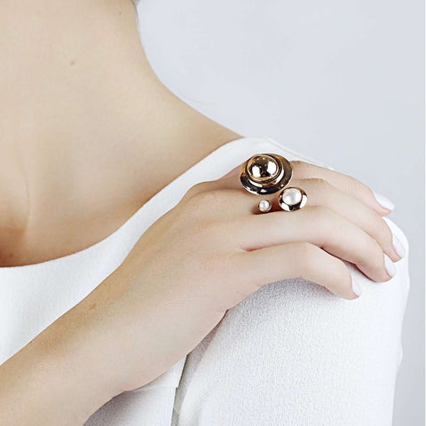 Shop online yellow gold plating metal ring with white SW Pearl cabochons.