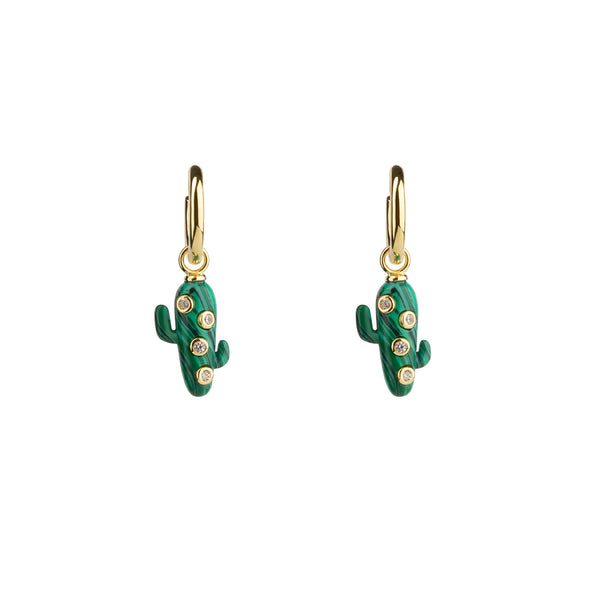 Mini Malachite Cactus Earrings