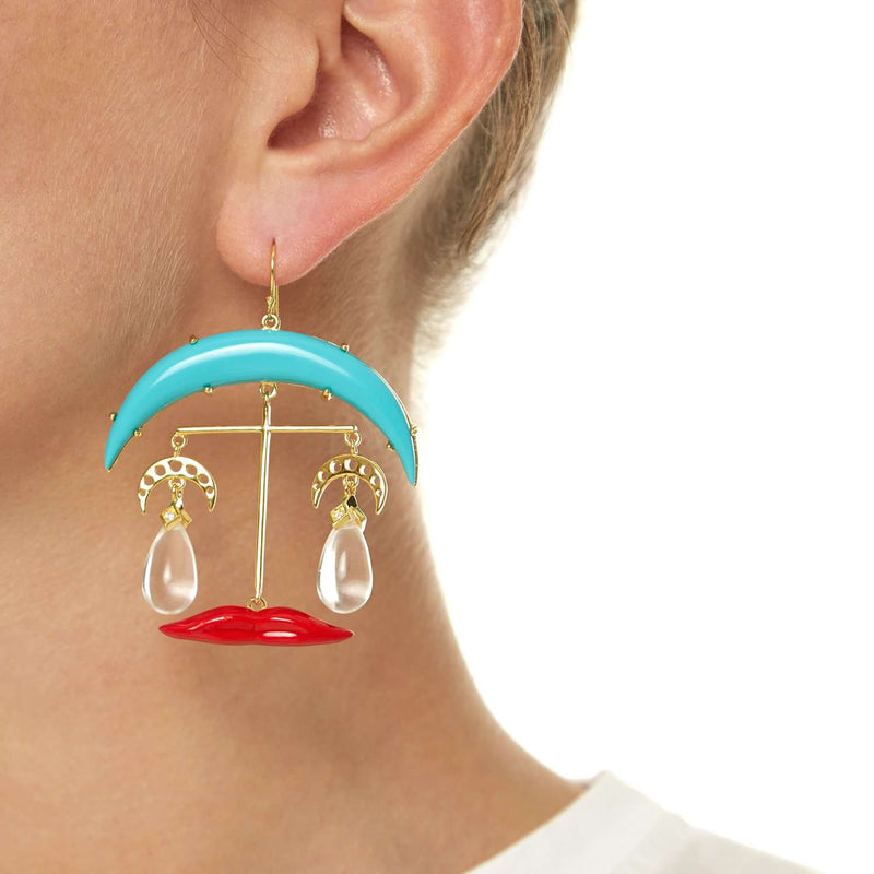 Lips and Moon Earrings