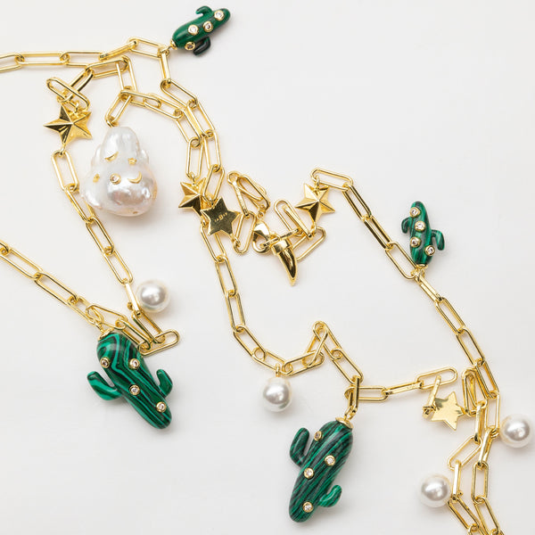 Pearl and Cactus Necklace