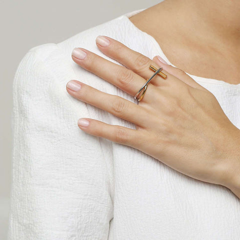 Shop yellow gold- white rhodium metal ring