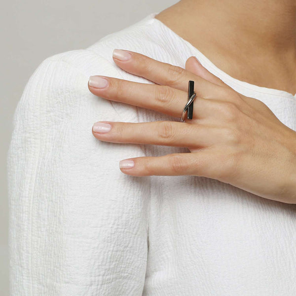Buy Hematite Plated-white rhodium ring