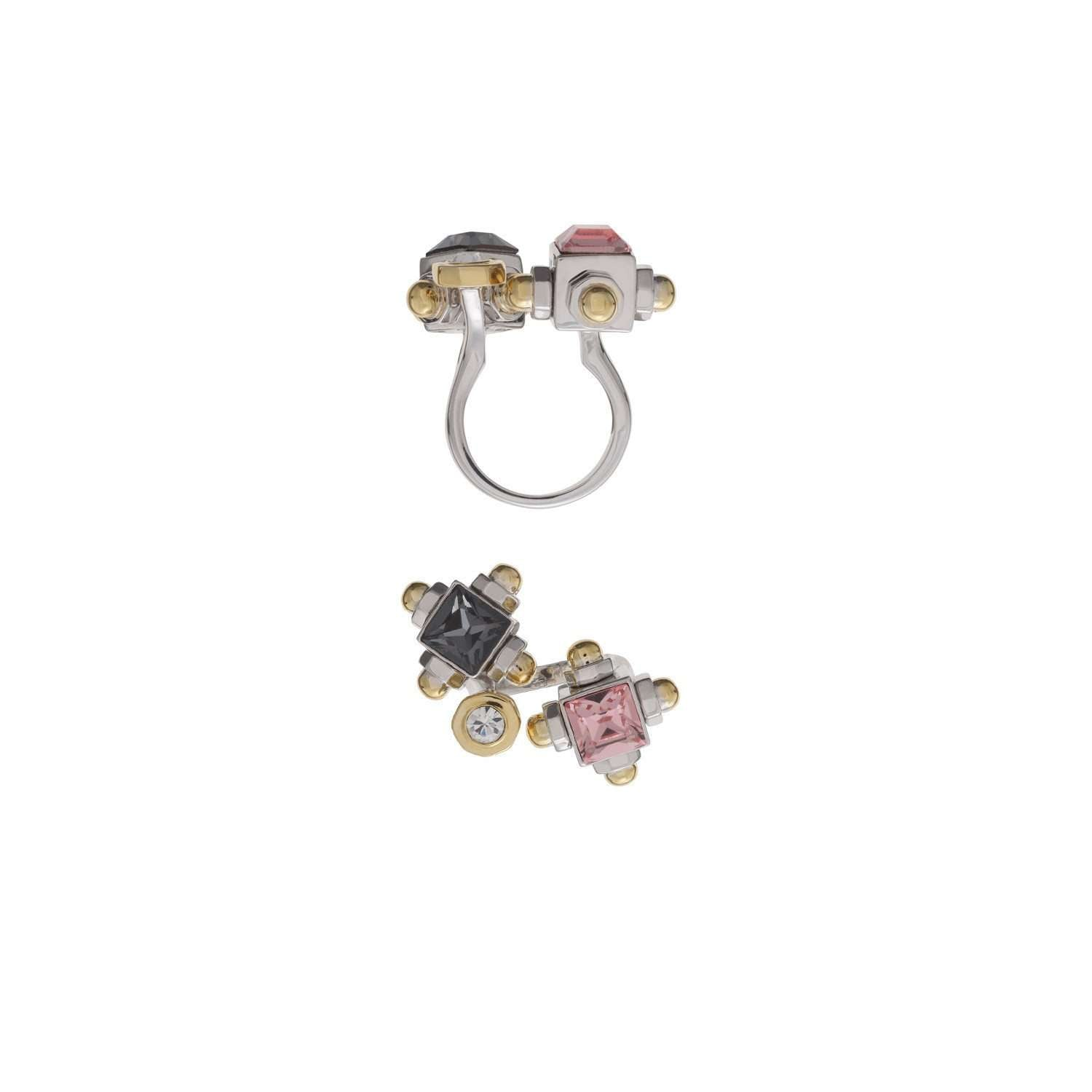 Costume ring with rose and black swarovski crystals