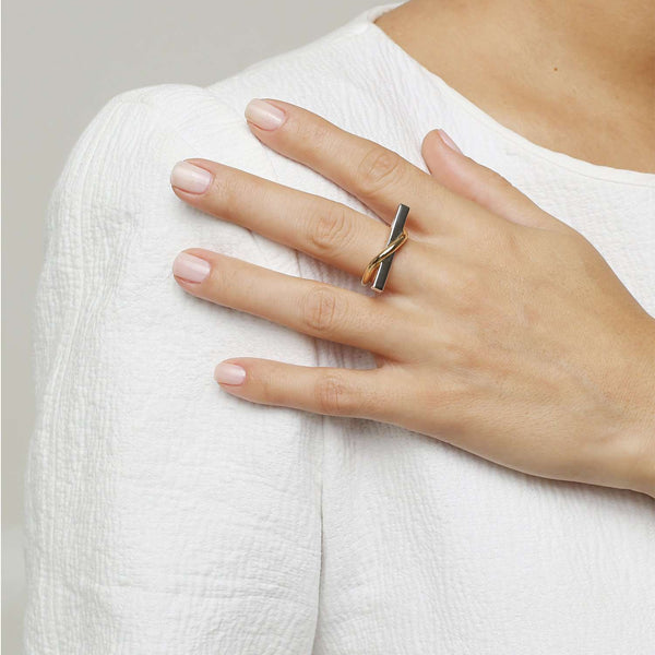 Gold metal-white rhodium plated ring