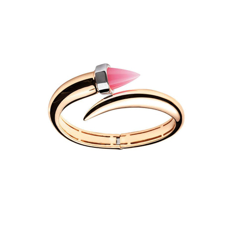 Yellow gold plated cuff bracelet with pink stud