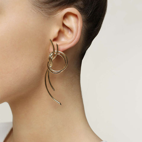 Shop online yellow gold plated metal earrings
