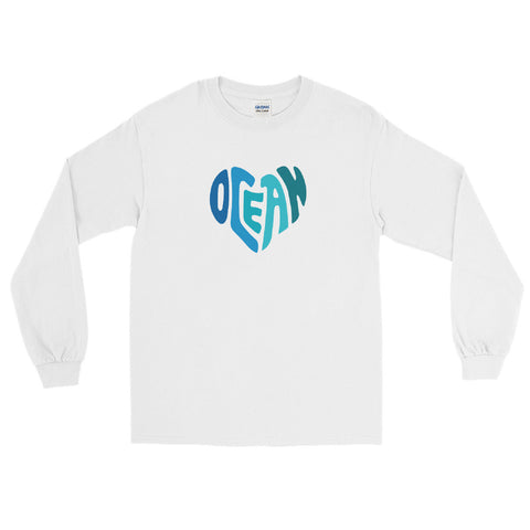 Ocean at Heart Men's Long Sleeve Shirt - Think Before Extinct
