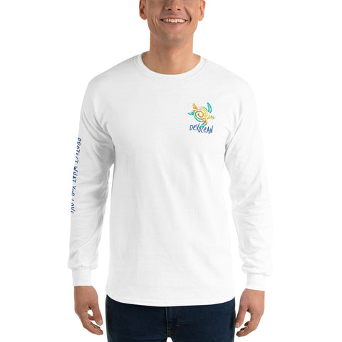 DevOcean Sea Turtle Men's Long Sleeve Shirt - Think Before Extinct