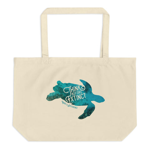 Sea Turtle Large organic tote bag - Think Before Extinct