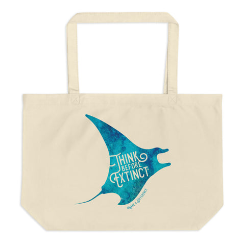 Manta Large organic tote bag - Think Before Extinct