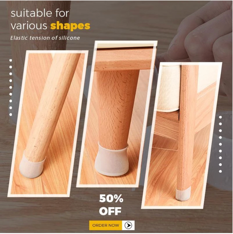 4 Pcs Furniture Silicone Cap Non-Slip Floor Protector