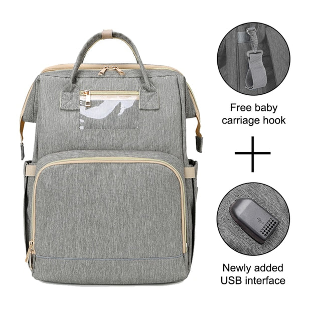 Multifunctional Waterproof Baby Diaper Backpack With Bed Crib