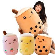 Plush Boba Tea Cup Toy Bubble Tea Pillow Cushion Cute Fruit Drink Plush Stuffed Soft Apple Pink Strawberry Milk Tea Kids Gift