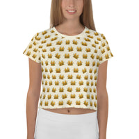 crestburger allover print crop tee
