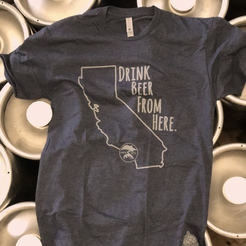 DRINK BEER FROM HERE T SHIRT- BLUE