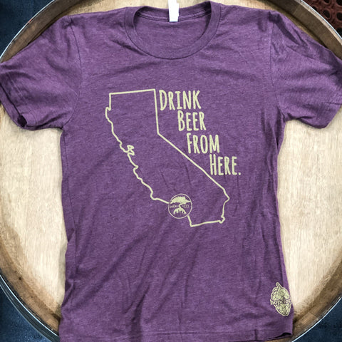 DRINK BEER FROM HERE T SHIRT- CABERNET