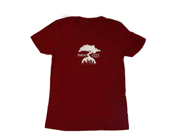 Front of official Taproom T-Shirt in red with white Smog City tree logo in the center.