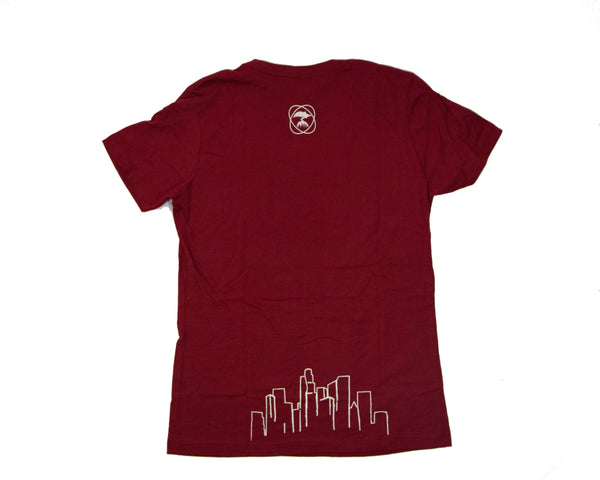Back of Official Taproom T Shirt in red with a small tree logo at the top and the L.A. skyline on the bottom.