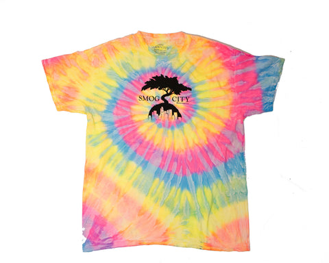 Front of Smog City tie-dye logo T-shirt with a tree in the middle.