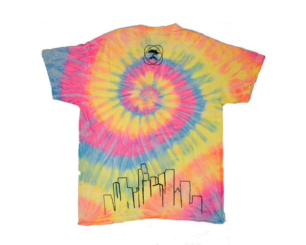 Back of Smog City tie-dye t-shirt. Small circle logo at the top and the outline of L.A.'s skyline along the bottom.