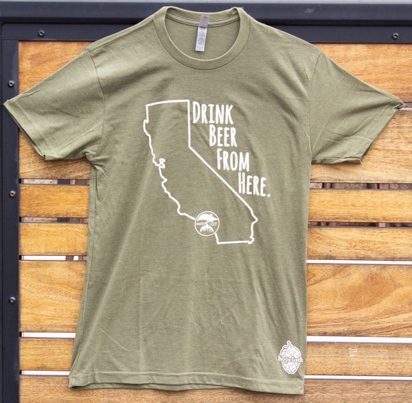DRINK BEER FROM HERE T SHIRT - OLIVE