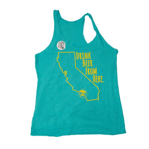 DRINK BEER FROM HERE TANK- TEAL