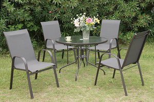 Fenpo Lizkona Round 5-Piece Vinyl Outdoor Patio Dining Set
