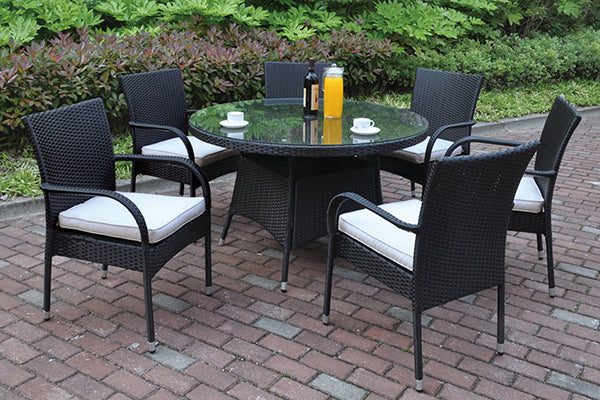 Fenpo Lizkona Round 7-Piece Wicker Outdoor Patio Dining Set