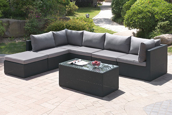 Fenpo Lizkona 7-PC Wicker Patio Sectional Outdoor Lounge Set