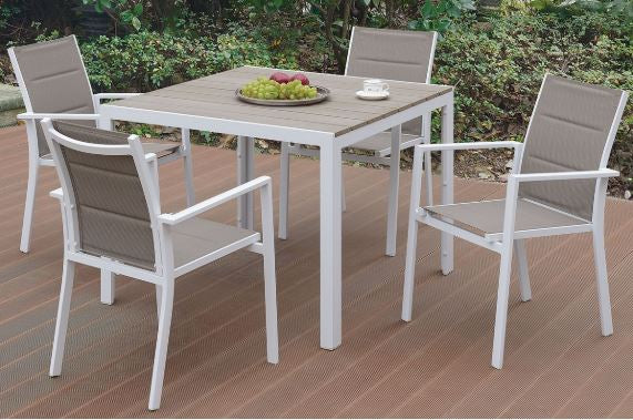 Fenpo Lizkona Round 5-Piece Aluminium frame/Pe Resin Wood Outdoor Patio Dining Set